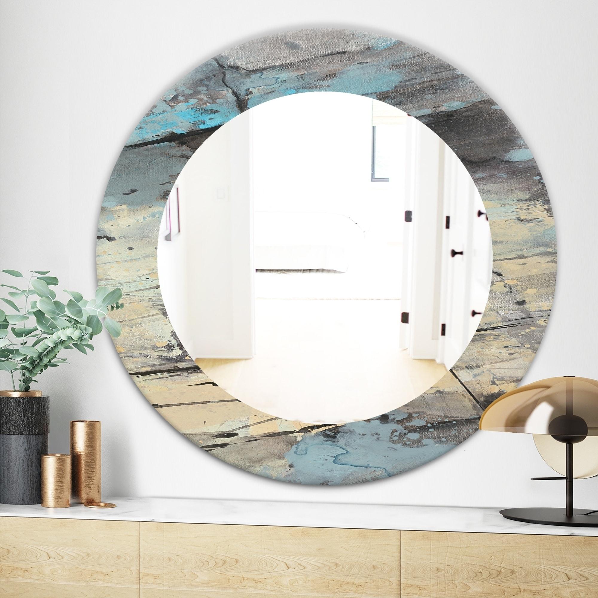Designart Rock Teal Panel Ii Modern Mirror Frameless Oval Or Round Wall Mirror Multi On Sale Overstock 28004745
