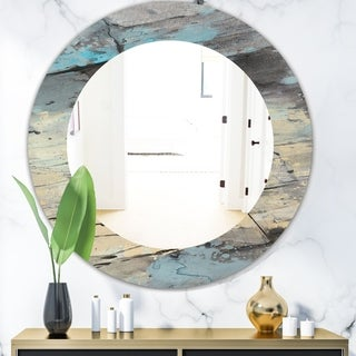 Designart 'Rock Teal Panel II' Modern Mirror - Frameless Oval or Round Wall Mirror - Multi