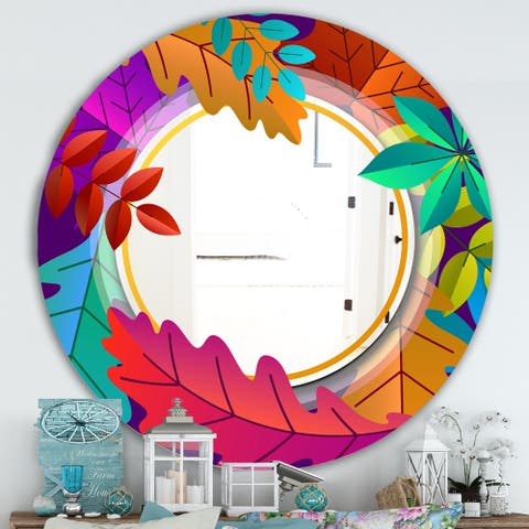 Designart 'Autumn with Round and Leaves' Farmhouse Mirror - Oval or Round Wall Mirror - Multi