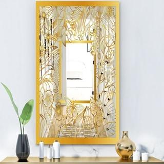 Designart 'Capital Gold Botanical Bliss 4' Glam Mirror - Modern Accent Mirror