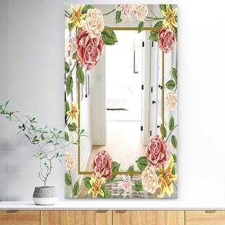 Designart 'Garland Sweet 34' Traditional Mirror - Large Mirror - Pink
