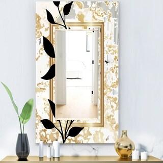 Designart 'Gold Botanical Obsidian 6' Glam Mirror - Wall Mirror - Gold