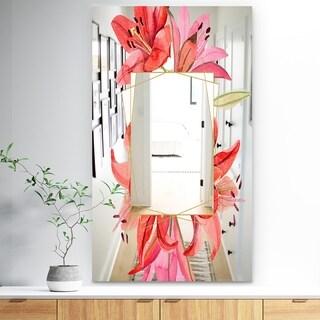 Designart 'Garland Sweet 14' Traditional Mirror - Wall Mirror - Red