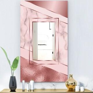 Designart 'Marbled Marvelous 7' Glam Mirror - Decorative Modern Mirror - Gold