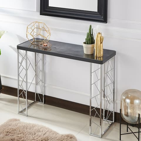 Silver Orchid Allison Modern Geometric Faux Marble Sofa Table
