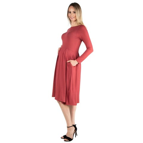 24seven Comfort Apparel Long Sleeve Fit and Flare Maternity Midi Dress