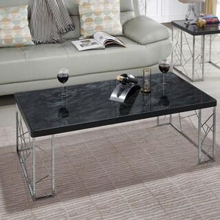 Silver Orchid Nolan Black Modern Coffee Table