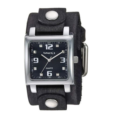 Nemesis Black Lite SQ Watch with Black Faded Leather Cuff Band FBN516K