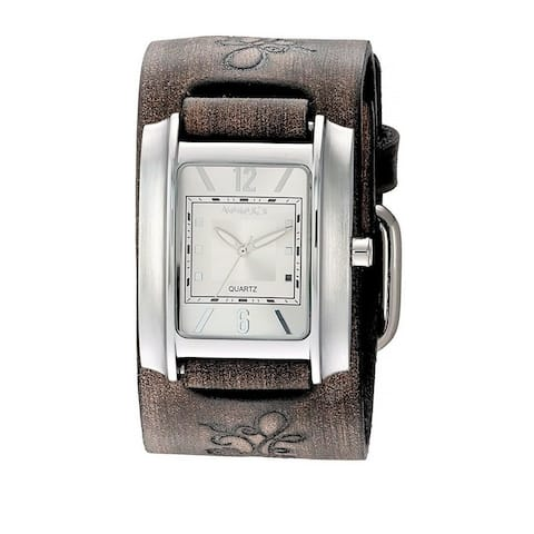 Nemesis Square in Square Ladies Watch with Faded Embossed Flower Design Leather Cuff Band BVFB013S