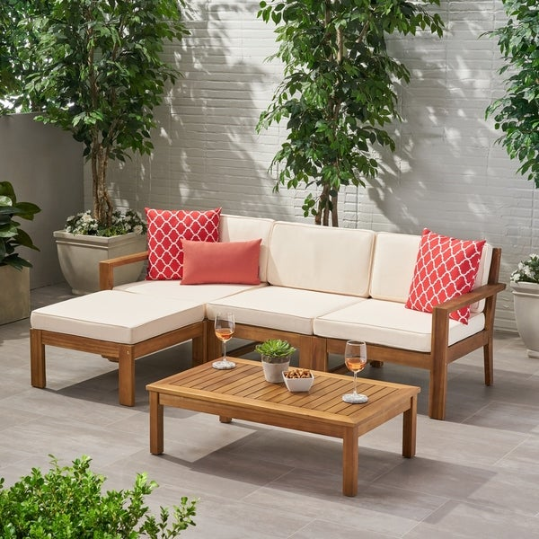 Santa Ana Acacia Wood Outdoor 3-seater Sectional by Christopher Knight Home