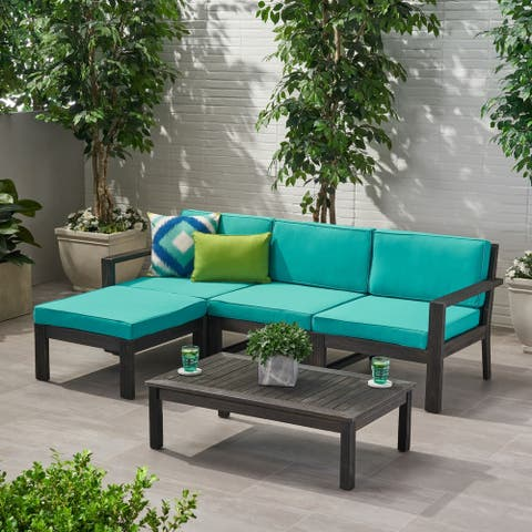 Santa Outdoor 3 Seater Acacia Wood Sofa Sectional with Cushions by Christopher Knight Home