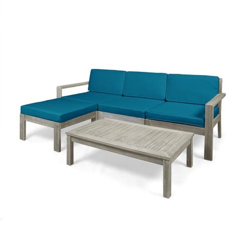 Santa Ana 5-piece Outdoor Acacia Wood Sofa Sectional Set by Christopher Knight Home