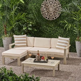 Link to Santa Ana 5-piece Outdoor Acacia Wood Sofa Sectional Set by Christopher Knight Home Similar Items in Outdoor Sofas, Chairs & Sectionals