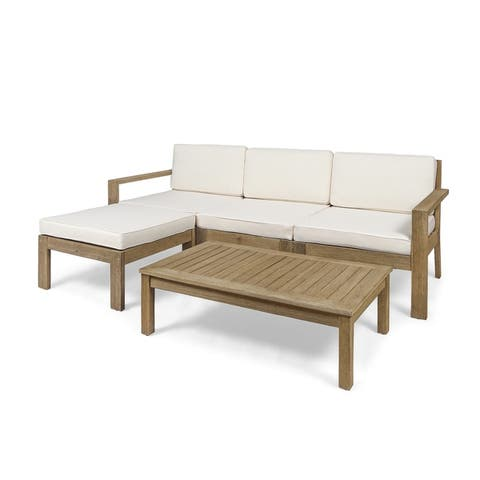 Santa Ana Outdoor 3 Seater Acacia Wood Sofa Sectional with Cushions by Christopher Knight Home