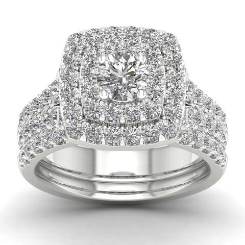 14k Gold 2ct TDW Diamond Double Halo Bridal Ring Set