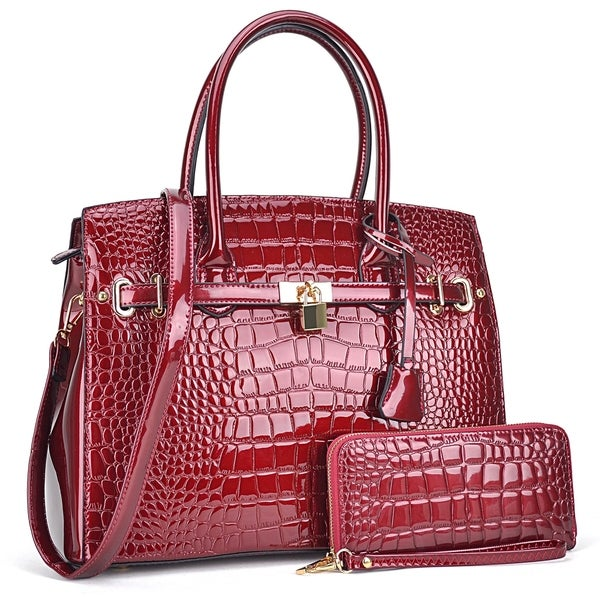 Croco Patent Leather Padlock Detailed Satchel w/ Matching Wallet. Opens flyout.