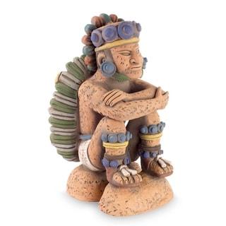 Handmade Pensive Tonatiuh Ceramic Sculpture (Mexico)