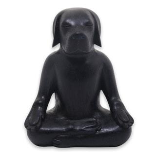 Handmade Black Yoga Beagle Wood Sculpture (Indonesia)
