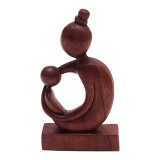 Handmade Mothers Arms Wood Sculpture (Indonesia)
