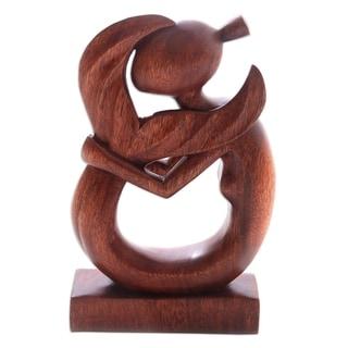 Handmade Serene Mermaid Wood Sculpture (Indonesia)