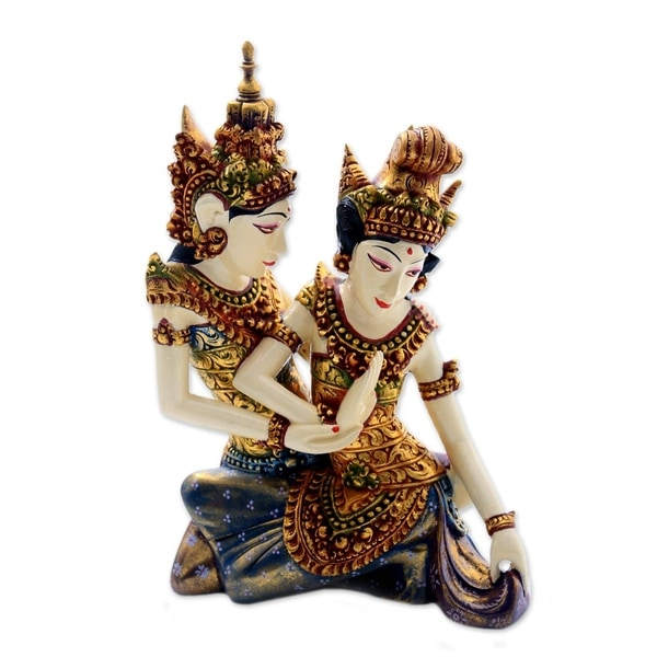 Handmade Rama Sita Dance Wood Sculpture (Indonesia)