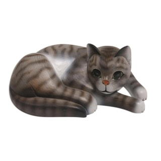 Handmade Adorable Grey Cat Wood Sculpture (Indonesia)