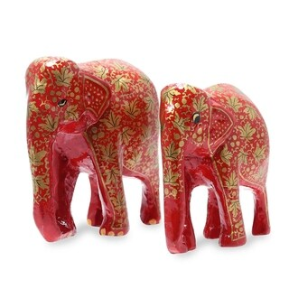 Handmade Chinar Bond (Pair) Papier Mache Sculptures (India)
