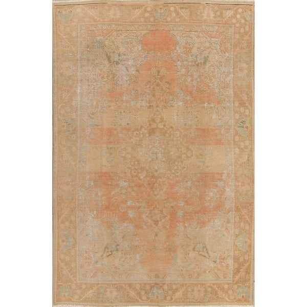 "Vintage Muted Tabriz Floral Handmade Wool Persian Distressed Area Rug - 9'7"" x 6'3"""