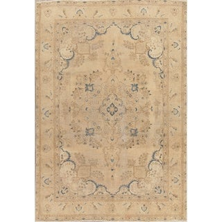 """Vintage Muted Tabriz Hand Knotted Wool Persian Distressed Area Rug - 9'4"""" x 6'4"""""""