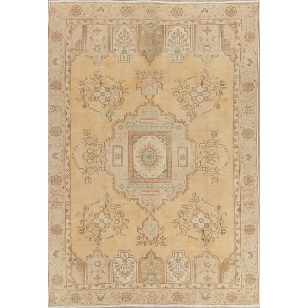 """Vintage Muted Tabriz Hand Knotted Wool Persian Distressed Area Rug - 9'2"""" x 6'5"""""""