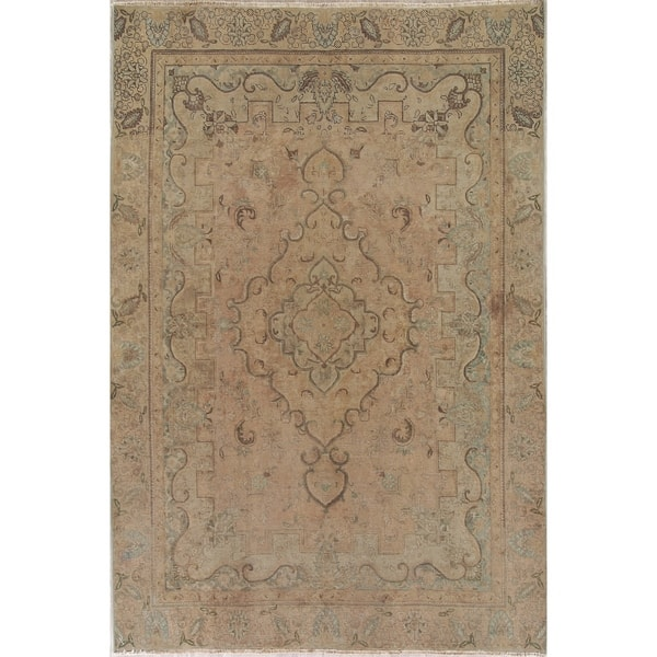 ae53a49008 Vintage Muted Tabriz Hand Knotted Wool Persian Distressed Area Rug - 10'9