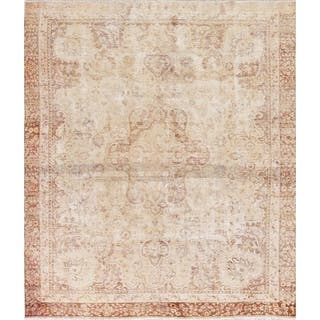 "Antique Muted Tabriz Medallion Hand Knotted Distressed Persian Rug - 8'11"" x 7'9"" Square"