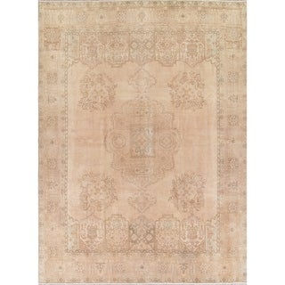 "Vintage Muted Tabriz Hand Knotted Wool Persian Distressed Area Rug - 12'9"" x 9'6"""