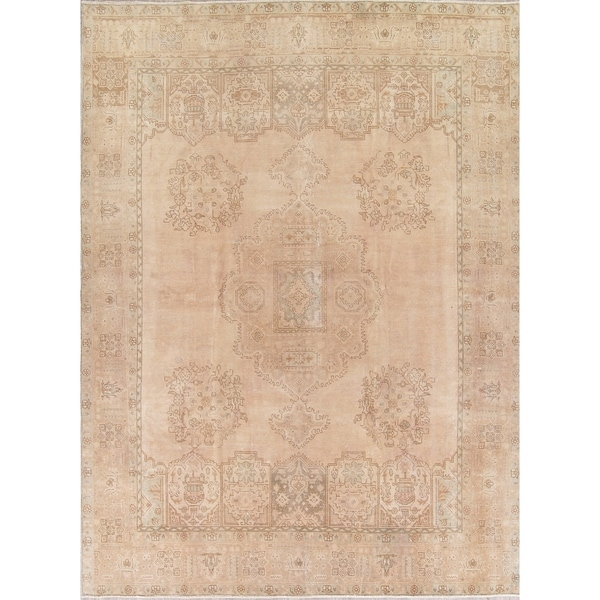 """Vintage Muted Tabriz Hand Knotted Wool Persian Distressed Area Rug - 12'9"""" x 9'6"""""""