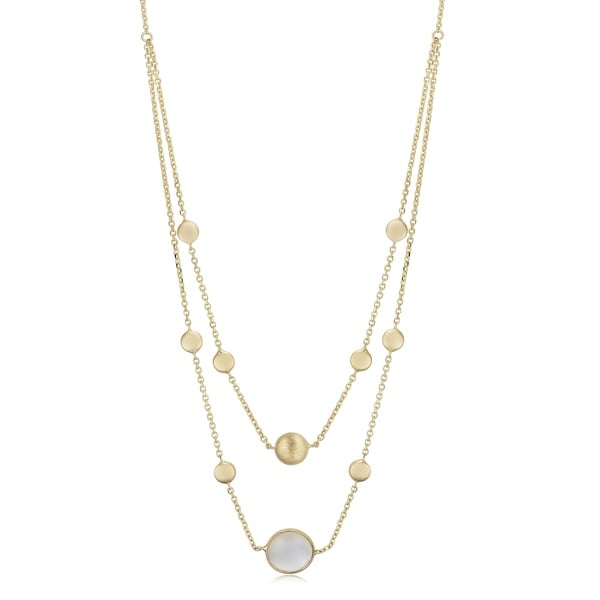 36a5e32770224 Shop 14k Yellow Gold Bead Mother of Pearl Accent Station Necklace ...