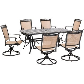 Hanover Fontana 7-Piece Outdoor Dining Set with 6 Sling Swivel Rockers and a 38-In. x 72-In. Cast-Top Table