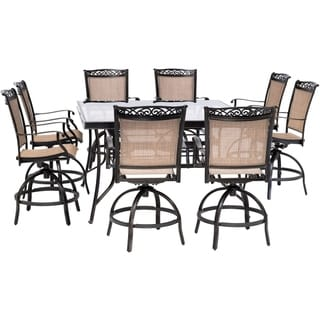 Hanover Fontana 9-Piece Counter-Height Outdoor Dining Set with 8 Sling Swivel Chairs and a 60-In. Square Glass-Top Table