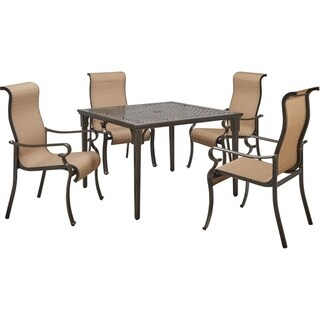 Hanover Brigantine 5-Piece Outdoor Dining Set with 4 Contoured-Sling Chairs and a 42-In. Square Cast-Top Table