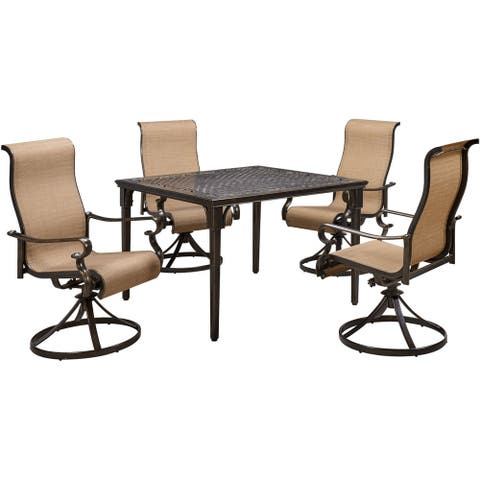 Hanover Brigantine 5-Piece Outdoor Dining Set with 4 Contoured-Sling Swivel Rockers and a 42-In. Square Cast-Top Table