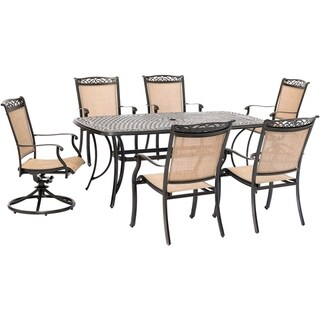 Hanover Fontana 7-Piece Outdoor Dining Set with 2 Sling Swivel Rockers, 4 Sling Chairs, and a 38-In. x 72-In. Cast-Top Table