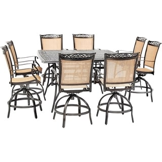 Hanover Fontana 9-Piece Counter-Height Outdoor Dining Set with 8 Sling Swivel Chairs and a 60-In. Square Cast-Top Table