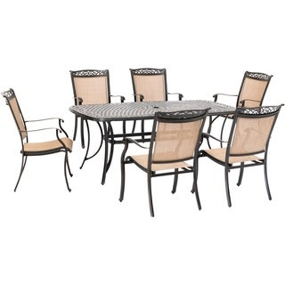 Hanover Fontana 7-Piece Outdoor Dining Set with 6 Sling Chairs and a 38-In. x 72-In. Cast-Top Table