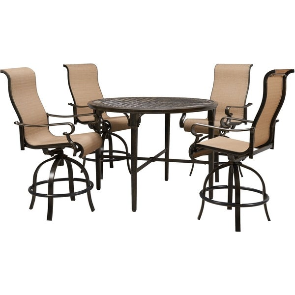 Hanover Brigantine 5-Piece Outdoor High-Dining Set with 4 Contoured-Sling Swivel Chairs and a 50-In. Round Cast-Top Table