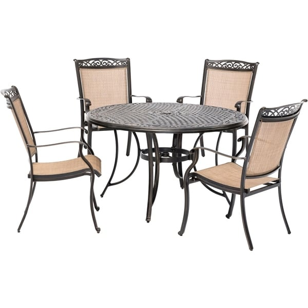 Hanover Fontana 5-Piece Outdoor Dining Set with 4 Sling Chairs and a 48-In. Cast-Top Table
