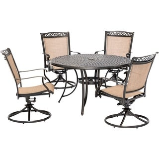 Hanover Fontana 5-Piece Outdoor Dining Set with 4 Sling Swivel Rockers and a 48-In. Cast-Top Table
