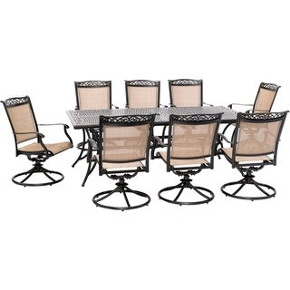 Hanover Fontana 9-Piece Outdoor Dining Set with 8 Sling Swivel Rockers and a 42-In. x 84-In. Cast-Top Table