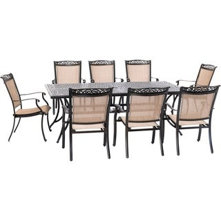 Hanover Fontana 9-Piece Outdoor Dining Set with 8 Sling Chairs and a 42-In. x 84-In. Cast-Top Table