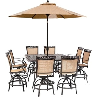 Hanover Fontana 9-Piece Counter-Height Outdoor Dining Set with 8 Sling Swivel Chairs, 60-In. Cast-Top Table, Umbrella, and Stand