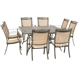 Hanover Fontana 9-Piece Outdoor Dining Set with 8 Sling Chairs and a 60-In. Square Cast-Top Table