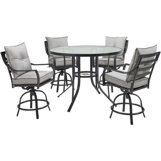 Hanover Lavallette 5-Piece Counter-Height Dining Set in Silver Linings with 4 Swivel Chairs and a 52-In. Round Glass-Top Table